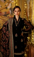 Embroidered Chiffon Dupatta with Embroidered Lawn Pallu Lace with Sequins – 2.5 meters Embroidered Dyed Chiffon Front, Back & Sleeves with Sequins – 4.53 meters Dyed Inner & Trouser – 1.75 meters