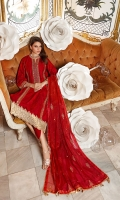 Embroidered Organza Dupatta – 2.5 meters Embroidered Cotton Shirt – 3 meters Dyed Trouser – 2.5 meters