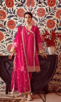 Embroidered Woven Net Dupatta with Zari – 2.5 meters Dyed Jacquard Shirt – 3 meters Dyed Trouser – 2.5 meters