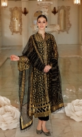 Embroidered Net Dupatta with Embroidered Net Pallu – 2.5 meters Hand Embellished Jacquard Shirt with Dyed Inner – 5 meters Gold Mehsuri Lace Dyed Trouser – 2.5 meters