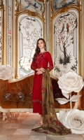 Embroidered Net Mehsuri Dupatta with Sequins & Zari – 2.5 meters Embroidered Cotton Front, Back & Sleeves – 2.26 meters Dyed Trouser – 1.75 meters