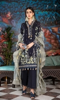 Embroidered Net Dupatta with Sequins – 2.5 meters Embroidered Dyed Swiss Voile Dobby Front, Back & Sleeves with Sequins – 3.91 meters Dyed Inner & Trouser – 1.75 meters