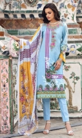 Printed Chiffon Dupatta – 2.5 meters Printed Shirt with Embroidered Neckline – 3 meters Embroidered Border Dyed Bottom – 1.75 meters