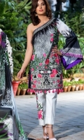 Shirt – 3M  1 Digital Printed Lawn Full Embroidered Front  2 one Piece Embroidered Patch for Front  3 One Piece Embroidered Patti for Neckline  4 Digital Printed Back and sleeves   Dupatta – 2.5M  1 Digital Printed Chiffon /dupatta  Trouser – 2.5M  1 Dyed Cotton Cambric Trouser   2 one piece Embroidered patch for trouser