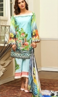 Shirt – 3M  1 Dyed Lawn Full Embroidered Front  2 One Piece Embroidered Patch for Front  3 Digital Printed Back and Sleeves  Dupatta – 2.5M  1 Digital Printed Silk Dupatta  Trouser – 2.5M  1 Dyed Cotton Cambric Trouser