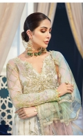 Hand-embellished, embroidered & sequined chiffon front Embroidered & sequined chiffon side panel Embroidered & sequined chiffon back Embroidered & sequined chiffon sleeves Embroidered & sequined chatta patti net dupatta Adda-worked, embroidered & sequined organza patch for neckline Embroidered & sequined chiffon border for front Embroidered & sequined chiffon border for back Embroidered & sequined chiffon border for sleeves Embroidered & sequined organza border for trouser Dyed inner shirt lining Dyed raw silk trouser