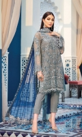 Hand-embellished, embroidered & sequined chiffon front Embroidered & sequined chiffon side panel Embroidered & sequined chiffon back Embroidered & sequined chiffon sleeves Embroidered & sequined chiffon dupatta Embroidered & sequined chiffon border for dupatta pallu Adda-worked, embroidered & sequined organza patch for neckline Embroidered & sequined chiffon border for front Embroidered & sequined chiffon border for back Embroidered & sequined organza motifs for sleeves Embroidered & sequined organza border for trouser Dyed inner shirt lining Dyed raw silk trouser