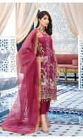 Hand-embellished, embroidered & sequined net right panel Hand-embellished, embroidered & sequined net left panel Embroidered & sequined net side panel Embroidered & sequined net back Embroidered & sequined net sleeves Dyed gold zari organza dupatta Embroidered & sequined net border for shirt front Dyed inner shirt lining Dyed raw silk trouser