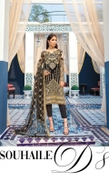 Adda-worked, embroidered & sequined chiffon front Embroidered & sequined chiffon side panel Embroidered & sequined chiffon back Embroidered & sequined chiffon sleeves Embroidered & sequined net dupatta Embroidered & sequined chiffon border for front Embroidered & sequined chiffon border for back Embroidered & sequined chiffon border for sleeves Dyed inner shirt lining Dyed raw silk trouser