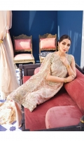 Hand embellished, embroidered & sequined net front Embroidered & sequined side panel Adda-worked, Embroidered & sequined neckline Embroidered & sequined net sleeves Embroidered & sequined net back Embroidered & sequined net dupatta Embroidered & sequined net dupatta pallu Embroidered & sequined border for shirt front Embroidered & sequined border for shirt back Embroidered & sequined motif for trouser Dyed raw silk trouser Dyed inner shirt lining