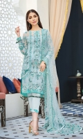 Hand-embellished, embroidered & sequined chiffon front Embroidered & sequined chiffon side panel Embroidered & sequined chiffon back Embroidered & sequined chiffon sleeves Crystal embellished, embroidered & sequined net dupatta Embroidered & sequined net dupatta pallu extension Embroidered & sequined organza patch for neckline Embroidered & sequined chiffon border for front Embroidered & sequined chiffon border for back Embroidered & sequined chiffon border for sleeves Dyed inner shirt lining Dyed raw silk trouser