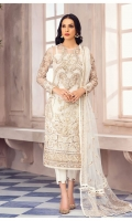 Adda-worked, embroidered & sequined net shirt front Embroidered & sequined net side panel Embroidered & sequined net back Embroidered & sequined net sleeves Embroidered & sequined net dupatta Embroidered & sequined net dupatta pallu Dyed inner shirt lining Dyed raw silk trouser