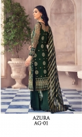 Adda-worked, embroidered & sequined net shirt front Embroidered & sequined net side panel Embroidered & sequined net back Embroidered & sequined net sleeves Dyed gold zari organza dupatta Embroidered & sequined net border for dupatta Embroidered & sequined net border for front Embroidered & sequined net border for back Embroidered & sequined net border for sleeves Dyed inner shirt lining Dyed raw silk trouser