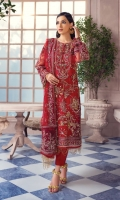 Adda-worked, embroidered & sequined net shirt front Embroidered & sequined net side panel Embroidered & sequined net back Embroidered & sequined net sleeves Embroidered & sequined net dupatta Embroidered & sequined net dupatta pallu Dyed raw silk trouser Dyed inner shirt lining