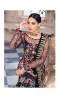 Adda-worked, embroidered & sequined net shirt front Embroidered & sequined net side panel Embroidered & sequined net back Embroidered & sequined net sleeves Embroidered & sequined net dupatta Embroidered & sequined chatta-patti dupatta pallu Embroidered & sequined net border for dupatta Dyed raw silk trouser Dyed inner shirt lining