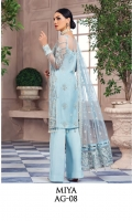 Adda-worked, embroidered & sequined net shirt front Embroidered & sequined net side panel Embroidered & sequined net back Embroidered & sequined net sleeves Embroidered & sequined net dupatta Embroidered & sequined net dupatta pallu Embroidered & sequined net border for front Embroidered & sequined net border for back Embroidered & sequined net border for sleeves Embroidered & sequined net border for neckline Embroidered & sequined net motifs for sleeves Dyed raw silk trouser Dyed inner shirt lining