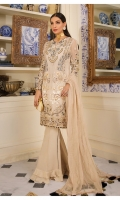 Hand embellished, embroidered & sequined chiffon front Embroidered & sequined chiffon side panel Embroidered & sequined chiffon sleeves Embroidered & sequined chiffon back Embroidered chiffon dupatta Hand embellished, embroidered & sequined organza neckline Embroidered & sequined organza border for front Embroidered & sequined organza border for back Embroidered & sequined organza border for sleeves Dyed raw silk trouser Dyed inner shirt lining