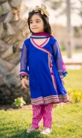 Chiffon Embroidered Girls 3 Piece Suit