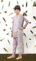 Embroidered & sequinned lilac chiffon shirt Embroidered & sequinned mint green net dupatta Dyed raw silk straight trouser