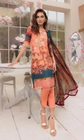 Digitally printed lawn shirt  Digitally printed chiffon dupatta  Digitally printed trouser  Embroidered border for shirt front  Embroidered border for sleeves  Embroidered patch for neckline