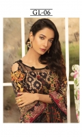 Digitally printed lawn shirt  Digitally printed chiffon dupatta  Dyed trouser  Embroidered patch for neckline  Embroidered border for sleeves  Embroidered border for shirt front  Embroidered border for trouser