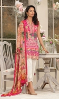 Digitally printed lawn shirt Digitally printed chiffon dupatta Dyed trouser Embroidered border for shirt front Embroidered border for neckline Embroidered border for trouser