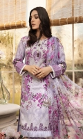 Digitally printed lawn shirt  Digitally printed chiffon dupatta Dyed trouser  Embroidered patch for neckline  Embroidered border for shirt front Embroidered border for trouser