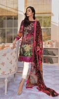 Digitally printed lawn shirt  Digitally printed chiffon dupatta White paste print trouser  Embroidered border for shirt front Embroidered border for sleeves Embroidered border for trouser