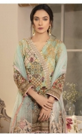 Digitally printed lawn shirt  Embroidered net dupatta  Digitally printed trouser  Embroidered border for neckline