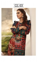Digitally printed lawn shirt  Digitally printed chiffon dupatta Dyed trouser Embroidered border for shirt front  Embroidered border for sleeves  Embroidered border for trouser