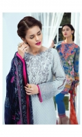 Fully embroidered dobby lawn shirt 3.00m Digitally printed chiffon dupatta 2.50m Dyed cotton trouser 2.50m Embroidered organza patch for neckline 1 pc Embroidered organza border for shirt front 1.00m Embroidered organza border for shirt back 1.00m Embroidered organza border for sleeves 1.00m Embroidered organza border for trouser 1.00m
