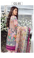 Digitally printed lawn shirt 3.00m Digitally printed chiffon dupatta 2.50m Dyed cotton trouser 2.50m Embroidered organza patch for neckline 1 pc Embroidered organza border for sleeves 1.00m Embroidered organza border for trouser 1.00m