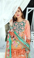 Digitally printed lawn shirt 3.00m Digitally printed chiffon dupatta 2.50m Dyed cotton trouser 2.50m Embroidered organza bunch for neckline 1 pc Embroidered organza border for sleeves 1.00m Embroidered organza border for trouser 1.00m