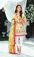 Digitally printed lawn shirt 3.00m Digitally printed chiffon dupatta 2.50m White paste print cotton trouser 2.50m Embroidered organza bunch for neckline 1 pc Embroidered organza border for sleeves 1.00m