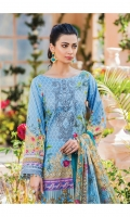 Digitally printed lawn shirt Digitally printed chiffon dupatta Dyed cotton trouser Embroidered organza patch for neckline Embroidered organza border for shirt front Embroidered organza border for sleeves Embroidered organza motifs for trouser
