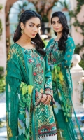Digitally printed lawn shirt Digitally printed chiffon dupatta Dyed cotton trouser Embroidered organza patch for neckline Embroidered organza border for shirt front Embroidered organza border for sleeves Embroidered organza border for trouser