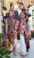 Digitally printed lawn shirt Digitally printed chiffon dupatta White paste print cotton trouser Embroidered organza border for neckline Embroidered organza border for shirt front Embroidered organza border for sleeves Embroidered organza border for trouser Embroidered organza motifs for sleeves