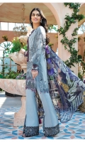 Digitally printed lawn shirt Digitally printed chiffon dupatta Dyed cotton trouser Embroidered organza border for neckline Embroidered organza border for shirt front Embroidered organza border for sleeves Embroidered organza border for trouser