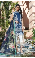 Digitally printed lawn shirt Digitally printed chiffon dupatta White paste print cotton trouser Embroidered organza border for neckline Embroidered organza border for shirt front Embroidered organza border for sleeves Embroidered organza border for trouser