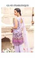Digitally printed lawn shirt Digitally printed lawn shirt Embroidered net dupatta Dyed trouser Embroidered organza border for neckline Embroidered organza border for trouser