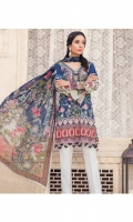 Digitally printed lawn shirt Digitally printed chiffon dupatta Dyed trouser Embroidered organza border for neckline Embroidered organza border for shirt front Embroidered organza border for trouser