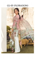 Digitally printed self-jacquard shirt Digitally printed chiffon dupatta White paste print trouser Embroidered organza patch for neckline Embroidered organza border for shirt front Embroidered organza motif for sleeves