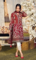 Digitally printed lawn shirt Digitally printed chiffon dupatta White paste print trouser Embroidered organza border for neckline Embroidered organza border for sleeves Embroidered organza border for shirt front Embroidered organza border for trouser
