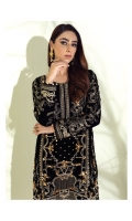 Adda-worked, embroidered & sequined velvet front Embroidered & sequined velvet side panel Embroidered & sequined velvet sleeves Plain velvet back Embroidered & sequined velvet border for front Embroidered & sequined velvet border for back Dyed raw silk trouser