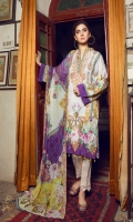 Digital Printed Linen Shirt With Embroidered Neck Digital Printed With Embroidered Cutwork Chiffon Dupatta Dyed Linen Trouser
