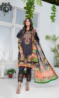 Shirt : Digital Printed Embroidered Shirt Front 1.25 m  Digital Printed Shirt Back & Sleeves 2 m  Trouser : Dyed Cotton Trouser 2.5 m  Dupatta : Digital Printed Bamber Chiffon Dupatta 2.5 m