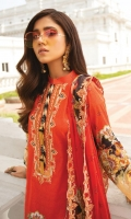 Digital Printed Embroidered Neck Digital Printed Lawn Shirt Digital Embroidered Cutwork Bamber Chiffon Dupatta Dyed Cambric Cotton Trouser