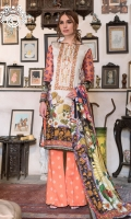 SHIRT FRONT  | Digital Printed Exclusive Linen Zari Embroidered Neck (1.25M)  SHIRT BACK    | Digital Printed Exclusive Linen Zari Back (1.25M) SLEEVES           | Digital Luxury Exclusive Zari Printed Sleeves (1M)   SHAWL            | Digital Printed Winter Shawl (2.5M) TROUSER         | Dyed Jacquard Banarsi Trouser (2.5M)