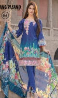 - Digital Print Cotton Cambric Embroidered with Digital Net Dupatta.