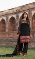 SHIRT FRONT  Chiffon Embroidered with Embroidered Neckline Patti and Daman Patach  SHIRT BACK  Chiffon Embroidered with Embroidered Patch  SLEEVES  Dyed Chiffon with Embroidered Patch  DUPATTA  Chiffon Embroidered  TROUSER  Dyed Rawsilk with Embroidered Patch